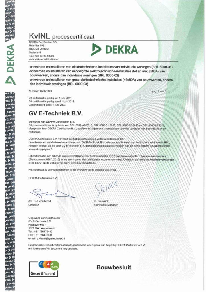 KvINL certificaat GV E-Techniek