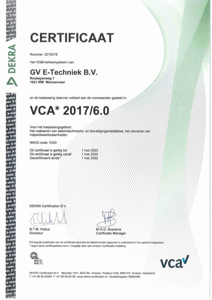 VCA certificaat GV E-Techniek